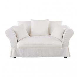 2-Sitzer-Sofa mit weißem Leinen-Crinkle-Bezug Roma