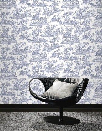 262963 amelia toile de jouy tapete dunkelblau shop. Black Bedroom Furniture Sets. Home Design Ideas