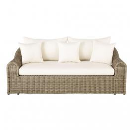 3-Sitzer-Gartensofa aus Kunstharzgeflecht und ungebleichtem Segeltuch Mimizan