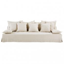 4-Sitzer-Sofa mit Leinenbezug, beige