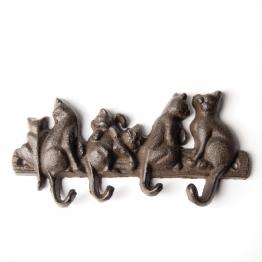 4er Hakenleiste ´´Katzen´´, antik-schwarz, B 20,5 cm, H 10 cm