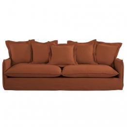 5-Sitzer-Sofa mit terrakottafarbenem Leinenbezug Barcelone