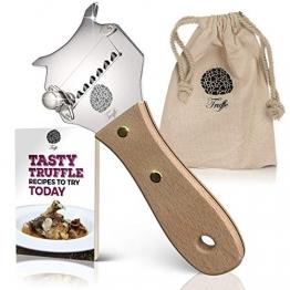 5☆ Trüffelhobel mit Premium Griff aus glänzendem Buchenholz. Inklusive Stofftasche, Rezept-E-Book und Bedienungsanleitung. Unser Schokoladenrasierer rasiert auch Käse und Gemüse. Verstellbare Klinge - 1