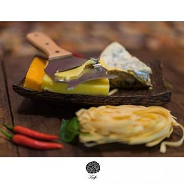 5☆ Trüffelhobel mit Premium Griff aus glänzendem Buchenholz. Inklusive Stofftasche, Rezept-E-Book und Bedienungsanleitung. Unser Schokoladenrasierer rasiert auch Käse und Gemüse. Verstellbare Klinge - 4