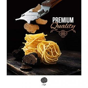 5☆ Trüffelhobel mit Premium Griff aus glänzendem Buchenholz. Inklusive Stofftasche, Rezept-E-Book und Bedienungsanleitung. Unser Schokoladenrasierer rasiert auch Käse und Gemüse. Verstellbare Klinge - 6