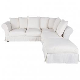 6-Sitzer-Ecksofa mit weißem Leinenbezug Roma