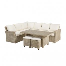 6-Sitzer-Gartensitzgruppe aus Kunstharzgeflecht, beige Sardaigne