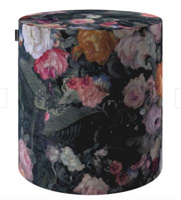 Pouf Barrel aus Samt mit Blumen