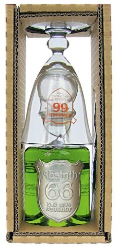 Absinth - 66 Abtshof Single-Set 66% Vol. - 0,2l incl. Absinthlöffel & -glas - 1