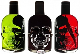 Absinth Totenkopf Trio je 0,5L Green/Black/Red Chili Mit max. erlaubtem Thujon 35mg/L 55%Vol - 1