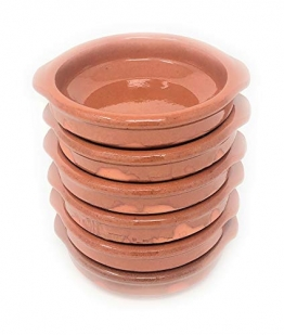 Alfareria Padilla 6er-Set Cazuela Tonschale rustikale Servierschale klein, traditionel, flach, rund, braun 12 cm | 6x12cm - 1