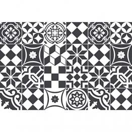 Ambiance-Live 24Aufkleber Fliesen | Sticker Selbstklebend Fliesen–Mosaik Fliesen Wandtattoo Badezimmer und Küche | Fliesen Kleber–Schwarz und Weiß–10x 10cm–24-teilig - 1