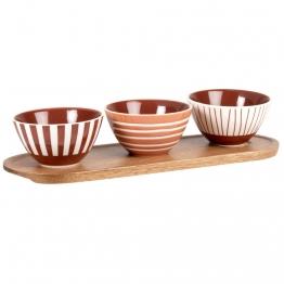 Aperitifschüsseln aus Steinzeug, terrakotta (x3) und Tablett aus Akazienholz