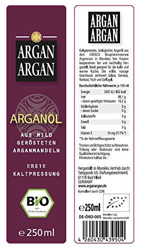 ARGANARGAN Bio-Arganöl geröstet 250ml, kaltgepresst, DLG-GOLD prämiert, SIEGER PREIS-LEISTUNG (vergleich.org), vegan, Gourmet-Speiseöl - 2