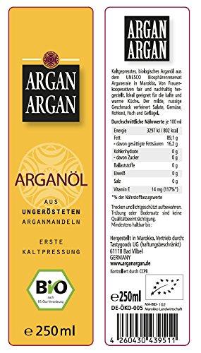 ARGANARGAN Bio-Arganöl, ungeröstet 250ml, kaltgepresst, DLG-GOLD prämiert, vegan, Anti-Aging, auch für Haut, Gesicht, Haare - 2