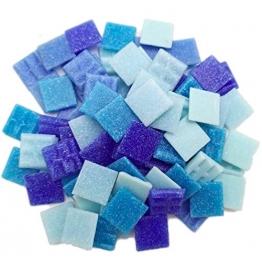 Armena Mosaikstein Mosaikfliesen Glas 2x2cm 250g (Circa 85 Stück) Blau gemischt - 1