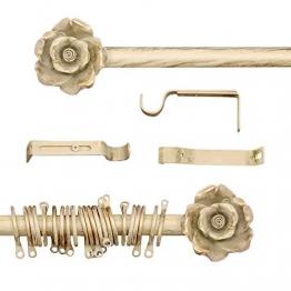 AT17 Gardinenstange Vorhangstange Gardinenstange Variable Länge Landhaus Shabby Chic - Rose - 160-300 - Durchmesser 2 cm - Elfenbein Dunkel/Gold - Metall - 1
