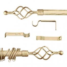 AT17 Gardinenstange Vorhangstange Gardinenstange Variable Länge Landhaus Shabby Chic - Unendlichkeit/Spirale - 160-300 - Durchmesser 2 cm - Elfenbein Dunkel/Gold - Metall - 1
