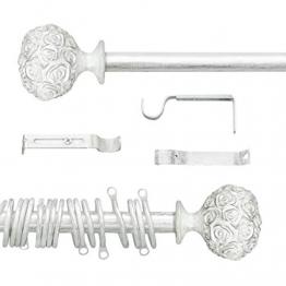 AT17 Gardinenstange Vorhangstange Gardinenstange Variable Länge Landhaus Shabby Chic - Rosen Prägemuster - 160-300 - Durchmesser 2 cm - Weiß/Silber - Metall - 1