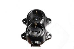 Aufputz Vintage 2-fach Schuko Steckdose Lichtschalter Rund Retro Schalter Wechselschalter Serienschalter (2-fach Schwarz) - 1