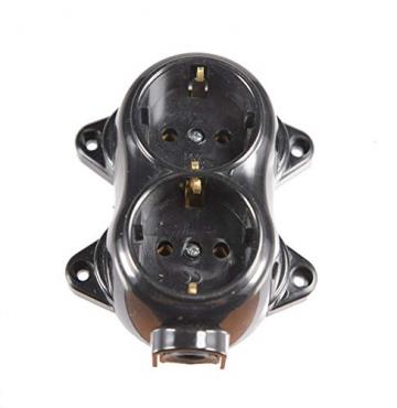 Aufputz Vintage 2-fach Schuko Steckdose Lichtschalter Rund Retro Schalter Wechselschalter Serienschalter (2-fach Schwarz) - 4