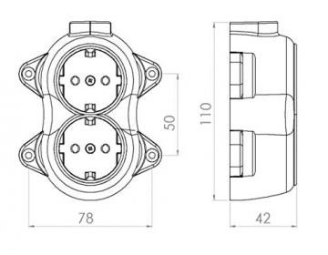Aufputz Vintage 2-fach Schuko Steckdose Lichtschalter Rund Retro Schalter Wechselschalter Serienschalter (2-fach Schwarz) - 6
