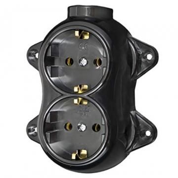 Aufputz Vintage 2-fach Schuko Steckdose Lichtschalter Rund Retro Schalter Wechselschalter Serienschalter (2-fach Schwarz) - 7