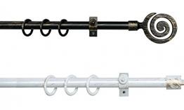 Ausziehbare Gardinenstange Stilgarnitur 130 bis 240 cm gewischtes Metall 3 Farben - Weiß Gold - Schwarz Silber - Schwarz Gold - 13/16 mm Vorhangstange Mediterran (Schwarz-Silber) - 1