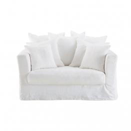 Ausziehbares 1-2-Sitzer-Sofa, Leinenbezug, weiß
