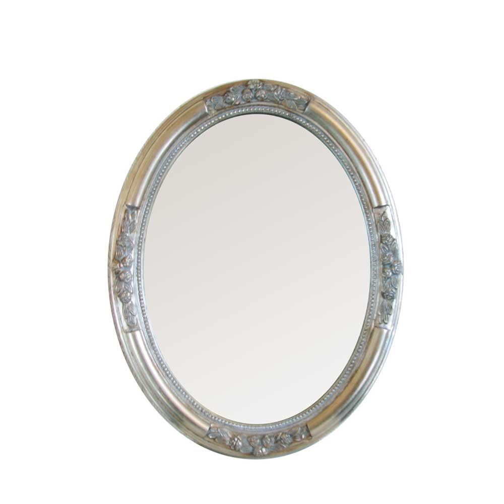 Barockspiegel in silber oval shop ambiente mediterran for Spiegel oval silber