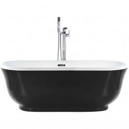 Beliani - Badewanne oval schwarz römisch Stil Tesoro