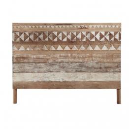 Bett-Kopfteil aus Recyclingholz mit Motiven, B160 Tikka