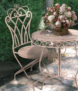 Bistro-Gartenmöbel Stuhl ´Antik-Weiß´