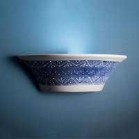 Blau-weiße Keramik-Wandleuchte Nelli