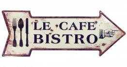 Blechschild LE CAFE BISTRO Pfeil Nostalgie Antik-Stil Geprägt 50x19cm