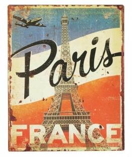 Blechschild Paris FRANCE Eiffelturm Nostalgie Dekoschild Vintage