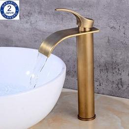 BOATX Badarmatur Antik Waschtischarmatur Wasserfall Bad Wasserhahn Hoch Waschbecken Armatur Mischbatterie für Badezimmer aus Messing - 1