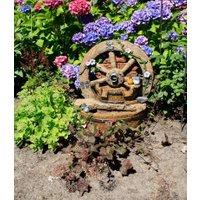 Brunnen 'POSEIDON' in Holzoptik mit Deko-Rad,1 Stück