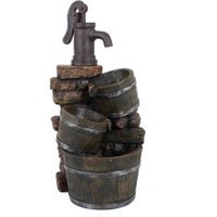 Brunnen 'VENETIEN' in Holz-/Steinoptik mit Kaskade