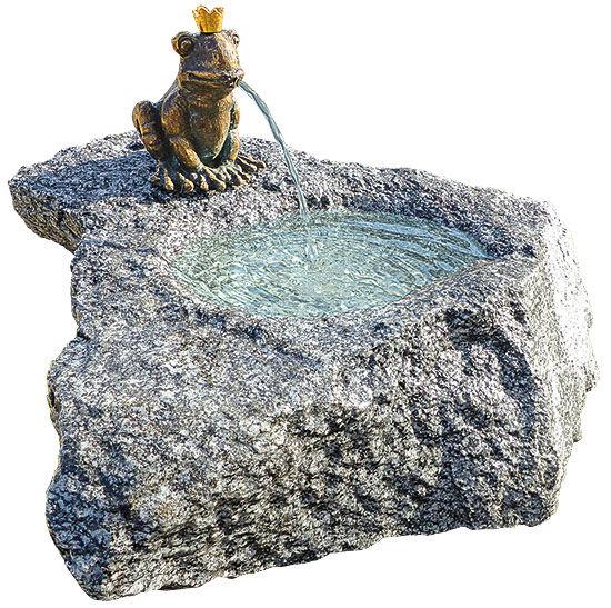 brunnenset froschk nig georg bronze auf stein brunnen shop ambiente mediterran. Black Bedroom Furniture Sets. Home Design Ideas
