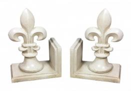 Buchstütze Bourbon Lilie 2 Stück Buchständer Gusseisen Antik-Stil Weiß