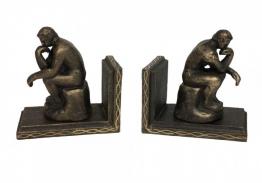 """Buchstütze """"Der Denker"""" nach Rodin 2 Stück Buchständer Gusseisen Antik-Stil"""