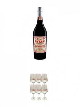 Byrrh Aperitif Frankreich 0,75 Liter + Byrrh Aperitif Stielglas 6 Stück - 1
