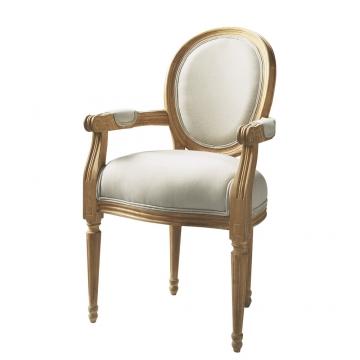 Cabriolet-Sessel aus Baumwolle, ecru Louis