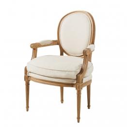 Cabriolet-Sessel in Leinenfarbene Baumwolle Louis