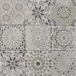 Casa Moro Marokkanische Patchwork Fliesen Arabesque 18,7x18,7 cm 1 qm aus Feinsteinzeug frostsicher | Vintage Bodenfliesen Retro Fiesen für schöne Küche Bad Flur & Küchenrückwand | FL2034 - 1