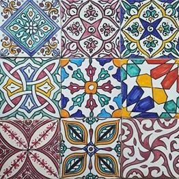 Casa Moro Orientalische Fliesen Bunt Mix 10x10 cm 9er Packung handbemalte marokkanische Fliesen Patchwork Kunsthandwerk aus Marokko Wandfliesen für schöne Küche Dusche Badezimmer | HBF8410 - 1