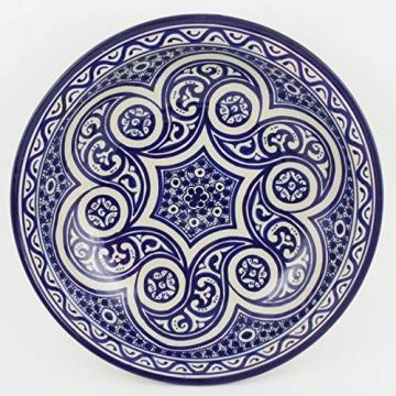 Casa Moro Orientalische handbemalte Keramik Schale Teller F017 rund Ø 34 cm blau weiß | Salatschüssel Obstschale | KSF017 - 1