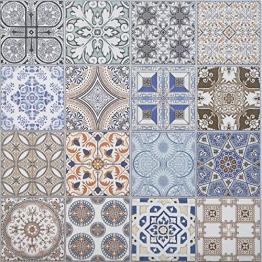 Casa Moro Orientalische Keramikfliesen Habib 44,1 x 44,1 cm 1 qm | Marokkanische Patchwork Fliesen für schöne Küche Flur Bad & Küchenrückwand | FL6030 - 1