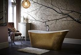 Casa Padrino Art Deco Badewanne freistehend Gold Modell He 1710mm - Freistehende Retro Antik Jugendstil Badewanne - 1